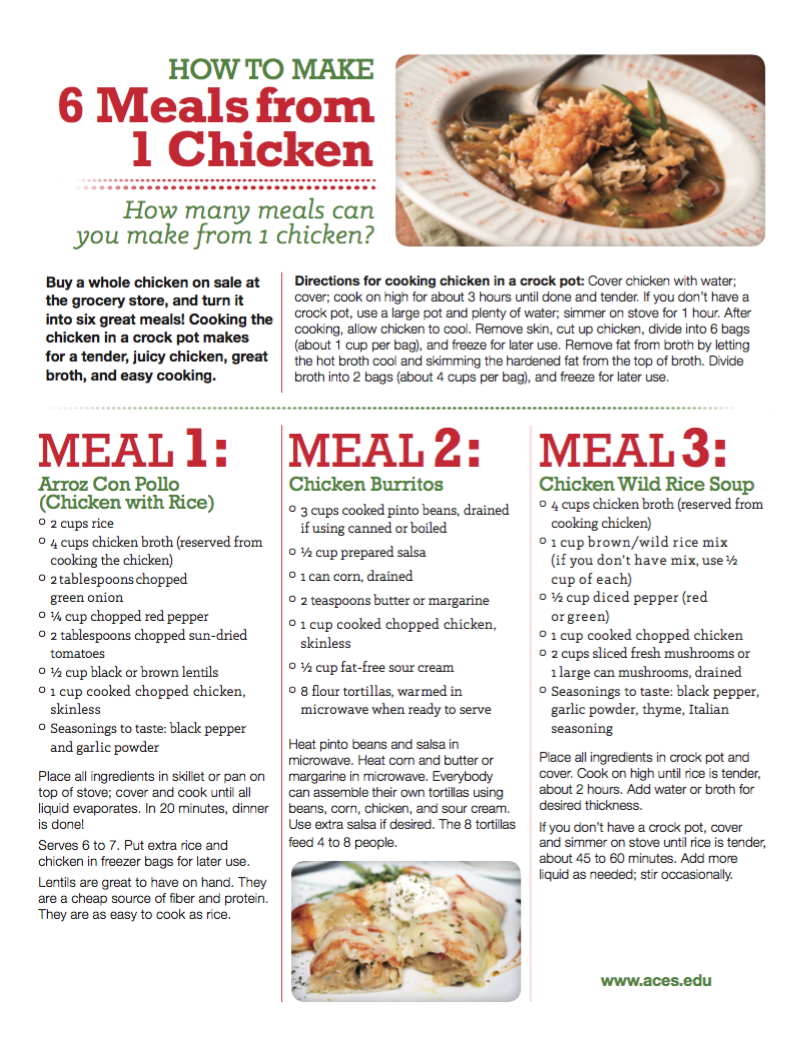 How to make 6 meals from 1 chicken live well alabama download the full pdf to learn about each recipe when making these recipes on your own use any vegetables you like forumfinder Gallery