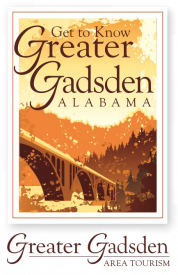 bridge illustration with trees in the background, 'Get to Know Greater Gadsden Alabama'