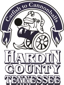 Hardin County Tennessee, Catfish to Cannonballs logo shows a catfish behind a cannon holding a cannonball