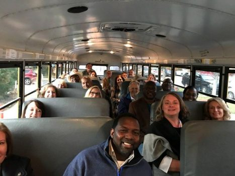 Conference attendees on bus going to Shiloh National Military Park