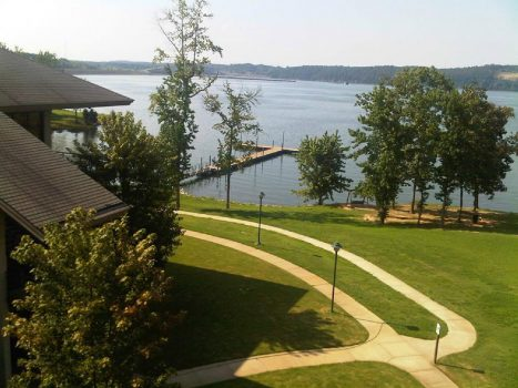 View of dock and lake from Lodge at Pickwick Landing State Park