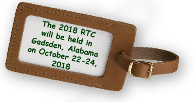 "luggage tag that reads ""The 2018 RTC will be held in Gadsden, Alabama on October 22-24, 2018"""