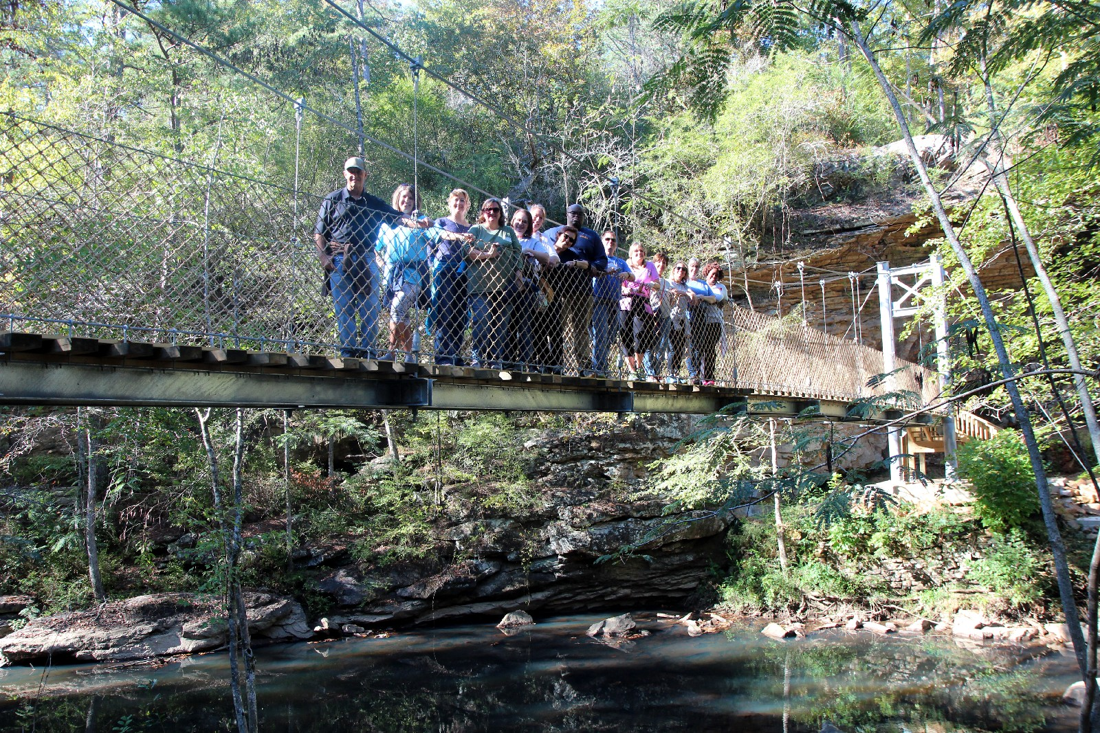 Conference attendees on the Suspension Bridge.