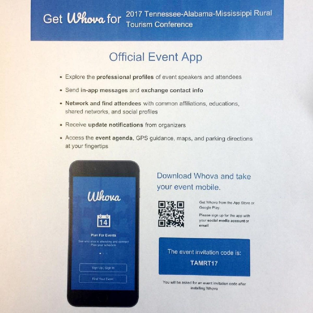 Handout highlighting official conference app supported by Whova.