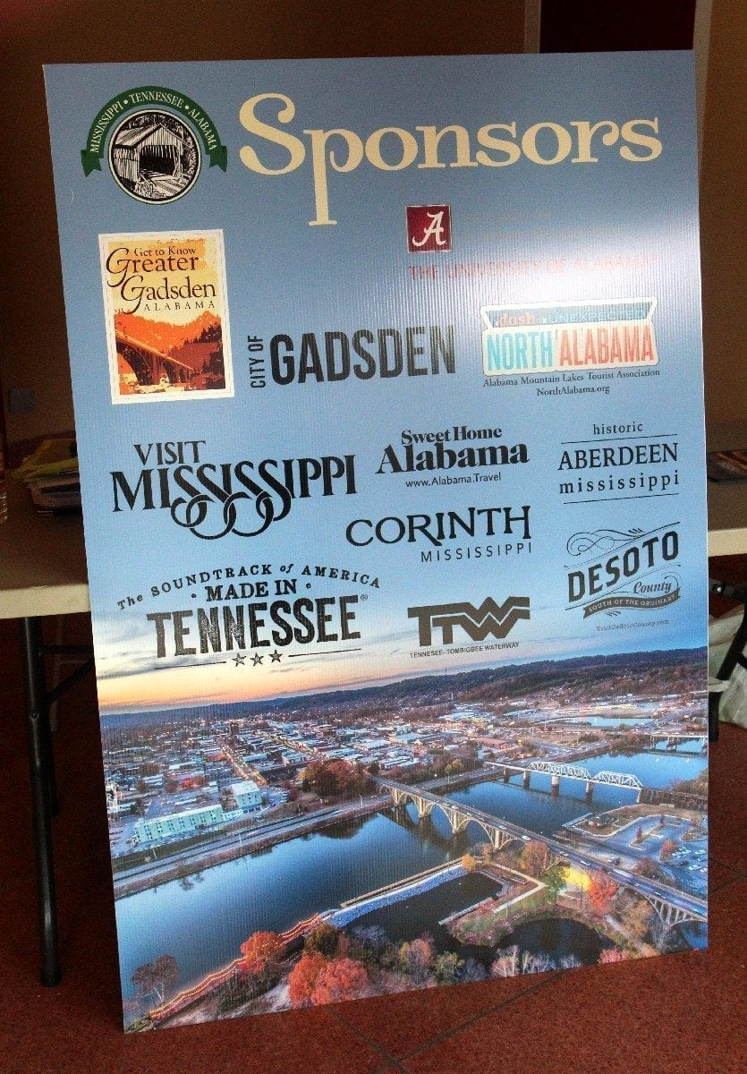 Poster highlighting the eleven official sponsors of the conference.
