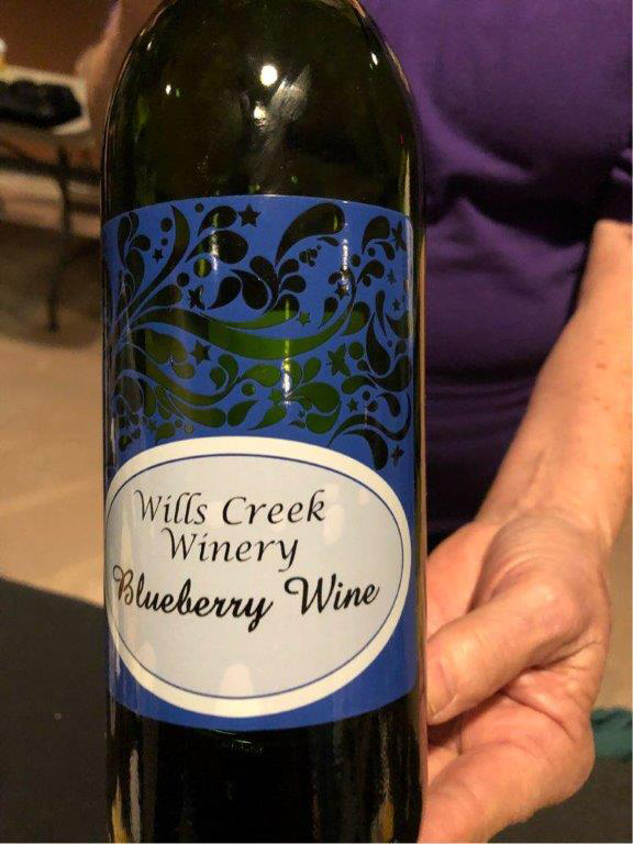 Bottle of wine produced by Wills Creek Winery.
